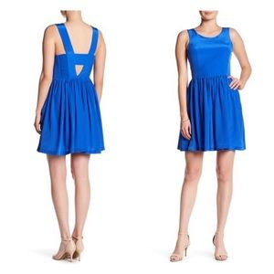 AMANDA UPRICHARD Emmie Blue Silk Party Mini Dress
